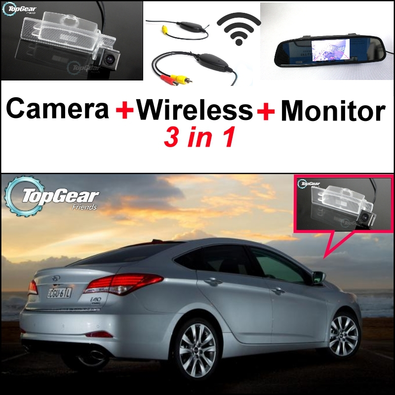 3 in1 Special Rear View Camera + Wireless Receiver + Mirror Monitor Easy DIY Back Up Parking System For Hyundai i40 2011~2015 special rear view wifi camera wireless receiver mirror monitor easy diy back up 3 in1 parking system for nissan terrano