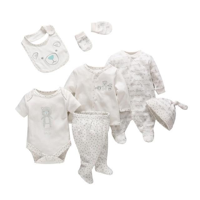 2017 Macacão de Bebê Recém-nascido Roupas 100% de Algodão Do Bebê Chapéus Luvas Bibs Roupa Do Bebê Conjuntos Para 0-9Month Macacão Infantil Presentes