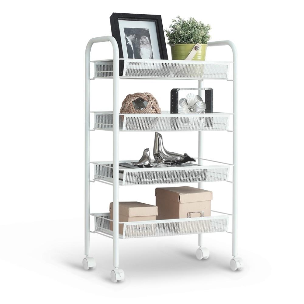 Langria 4 Tier Metal Mesh Rolling Cart Trolley Storage Shelving Rack ...
