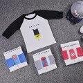 2016 más nuevos Cabritos del bebé de algodón de Manga Larga Camiseta Con Hielo crema y Batman Patrón Manga Raglán para 1-6Y 4 Colores envío gratis