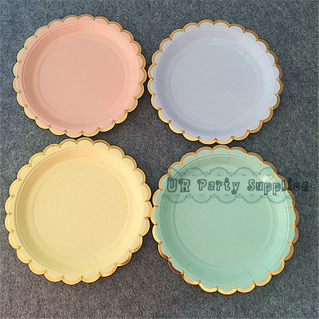 Free Ship 80pcs Pastel Colored Paper Plates Small Round 7 inch Dessert Plates for Wedding Sun & Free Ship 80pcs Pastel Colored Paper Plates Small Round 7 inch ...