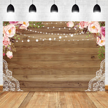 NeoBack Rustic Flower Backdrop Bridal Shower Background Vinyl Wood Birthday Party Banner Backdrops