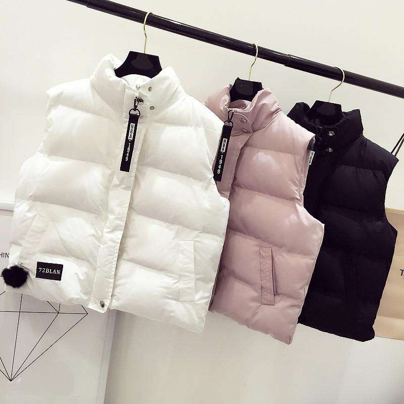 Autumn Winter Vest Padded Sleeveless Down Jacket Coat Women Korea Short style Stand collar Colete Feminino