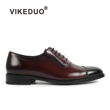 Vikeduo Brand Handmade Vintage Shoes For Men Solid Wedding Office Formal Footwear Retro Genuine Leather Oxford Shoe Zapato Hombr