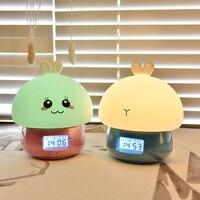 토끼 터치 램프 알람 시계 레코더 원격 제어 RGB LED 밤 빛 USB 실리콘 토끼 램프 어린이위한 아기 선물