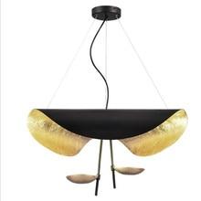 Modern Creative Black/White Iron Led Pendant Light for Foyer Dining Room Bed Bar Decor Gold Foil Suspension 1817