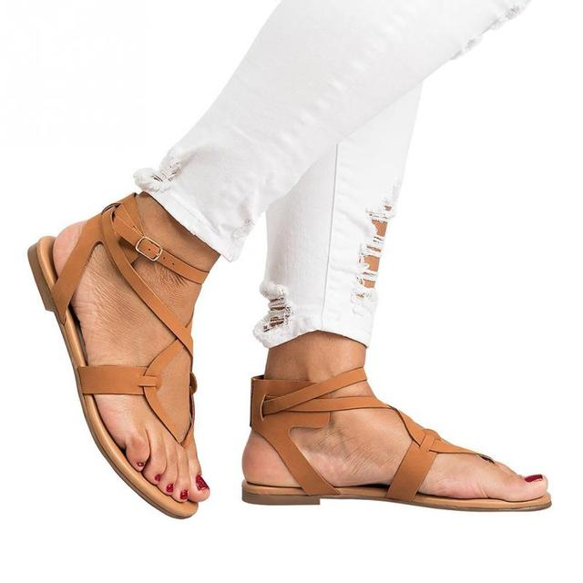aaa9a542fbc6 Women Sandals Fashion Gladiator Sandals For Women Summer Shoes Female Flat  Sandals Rome Style Cross Tied Sandals Shoes