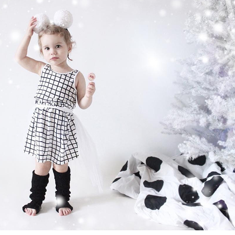 Girl Dresses New 2017 Fashion Cotton Plaid Black and White