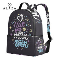 ALAZA Black Backpack for Teenager Travel Bag School Backpack I Love You To The Moon And Back Bag Large Capacity For Women