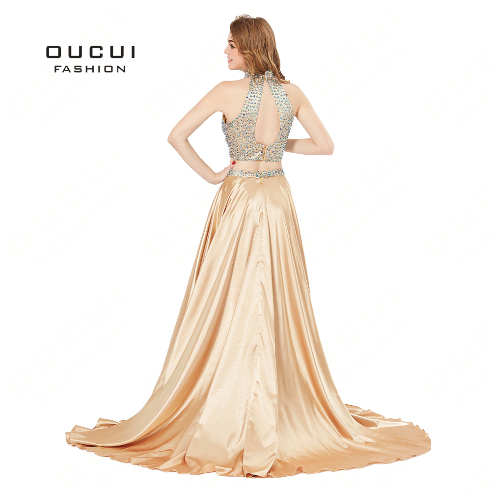 f44caebfa19c3 Aliexpress.com : Buy New Luxury Long Evening Dress Formal Top Gold Satin  Halter Beads High Slit Court Train Prom Dresses Party Gown BL1813 from ...