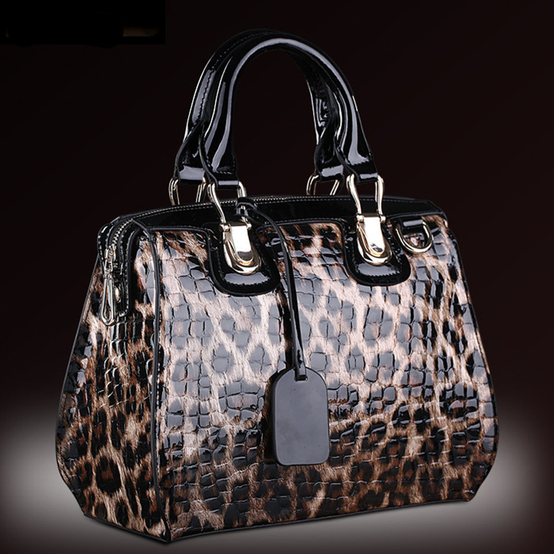 Fashion Leopard Pattern Genuine Leather Women Handbags\Bag Cowhide Tote Bag ladies' Shoulder Bags Female Messenger Bag~13B316 aibkhk cowhide genuine leather women speedy bags crossbody bag female fashion shoulder for women s handbags clutch leopard bag