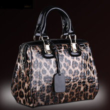 Fashion Leopard Pattern Genuine Leather Women Handbags\Bag Cowhide Tote Bag ladies' Shoulder Bags Messenger Bag~13B316
