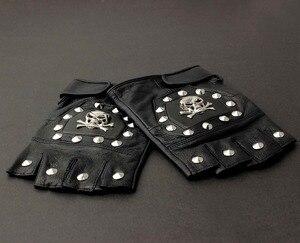 Image 4 - Męska prawdziwa skórzana czaszka punk rocker jazdy motocyklowe rękawiczki bez palców
