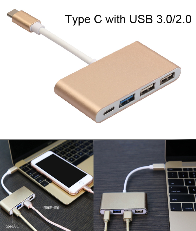 Quality 4in1 Metal Type C to Type C USB 3.0 USB 2.0 HUB Cable Adapter Charging Converter for NEW Macbook and other typec laptops usb3 1 usb type c to displayport dp 4k cable adapter 1 8m black for new macbook hdtv projector monitor display 2017 hot product