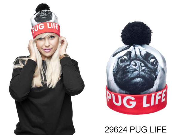 Pug Life Pattern 3D Digital Printed Beanie Pompon Winter Women Knitted Hat  Unisex Different Pattern Pattern 3D Stereo Hats 791ef83d38d