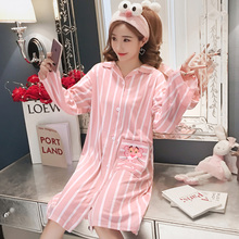 55e68cf96d 2018 new Spring and autumn women nightdress Sexy Female Lounge Sleepwear  Long Design Loose Female cotton Princess Nightgown-in Nightgowns    Sleepshirts from ...