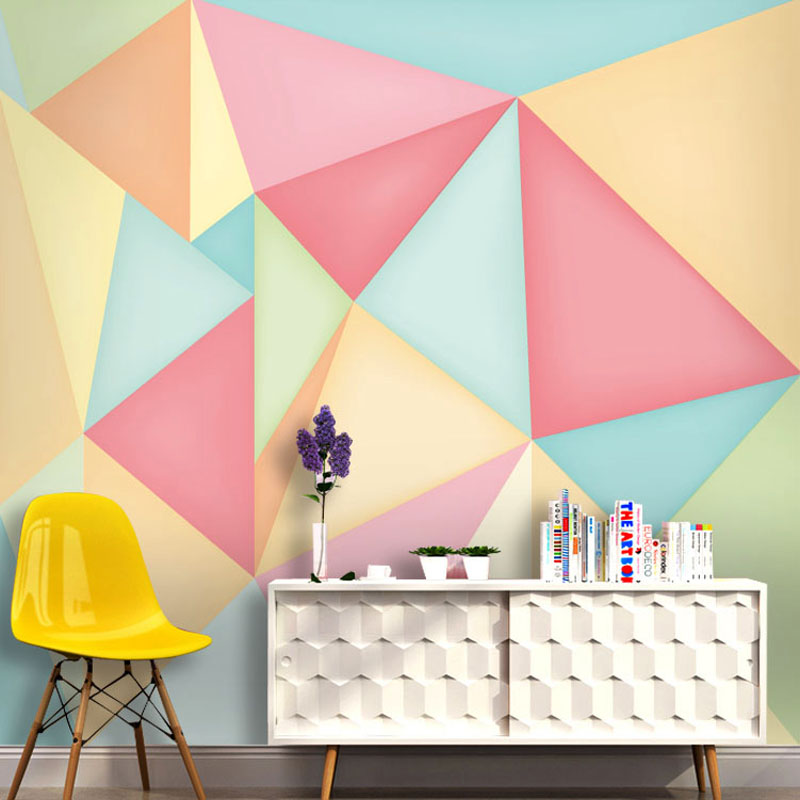 Tuya Art 3D pink geometric modern design wall papers for walls for ...