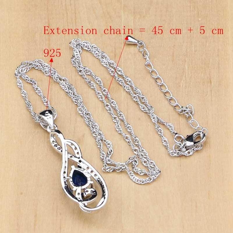Étrange argent 925 bijoux bleu cubique zircone blanc cristal ensemble de bijoux pour les femmes de mariage longue boucle d'oreille collier en argent ensemble