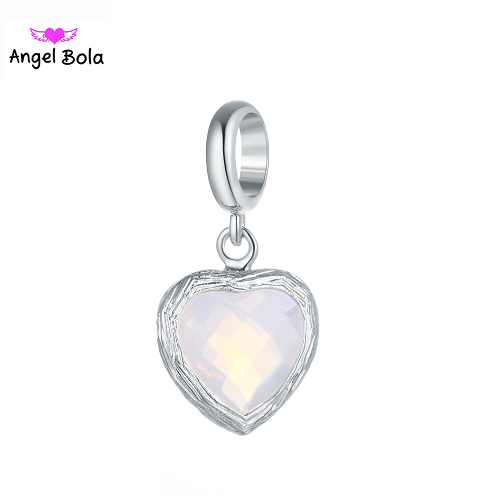Endless Charms Fashion Heart Shaped Glass Charm Pendant For Jewelry Making Accessories EP-118