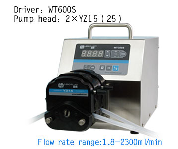 WT600S 2xYZ25 High Flow rate Adjustable Peristaltic Pump Industrial Lab dosing Tubing Peristaltic Pump 50-1700ml/min peristaltic plus s с 1 мес 2 шт