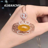 KJJEAXCMY boutique jewelry, Natural chalcedony crystal pendant S925 female silver jewelry jewelry wholesale silver necklace