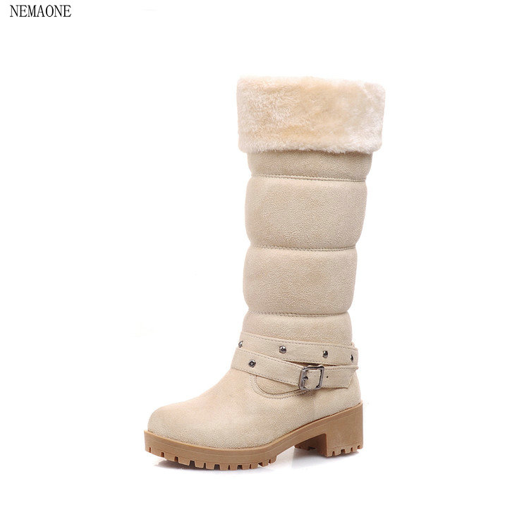 NEMAONE Hot!The new ladies fashion leisure winter warm nubuck leather snow boots large size 34-43 nord keyboard stand ex