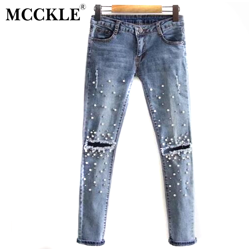 MCCKLE Knee Hole Ripped Jeans Women Stretch Denim Pencil Pants Slim Fit Rivet Pearl Jeans Summer Long Trousers Low Waist Cowboy summer boyfriend jeans for women hole ripped white lace flowers denim pants low waist mujer vintage skinny stretch jeans female