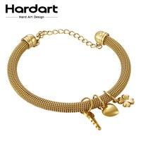 Hardart Heart Key Charms Bracelet 316L Stainless Steel Chain Bangles Net Wire Cuff Bangle For Women