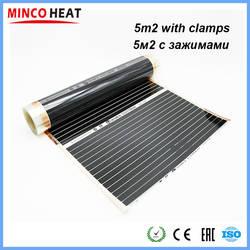 Minco Heat 5M2 220 Вт низкая стоимость инфракрасный теплый пол углеродное волокно нагревательная пленка 50 см 80 см 100 см с зажимами