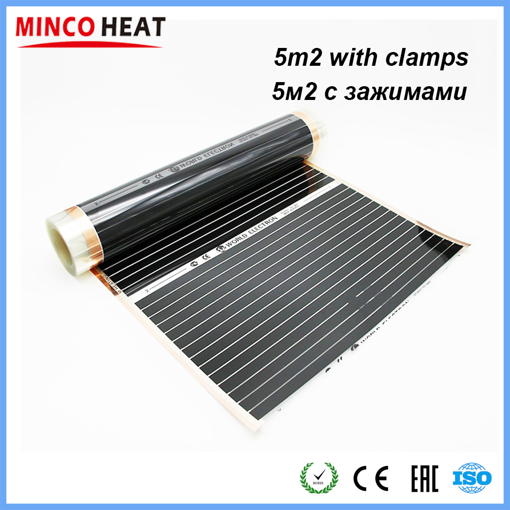 Minco Heat 5M2 220W Low Cost Infrared Warm Floor Carbon Fiber Heating Film 50cm 80cm 100cm With Clamps