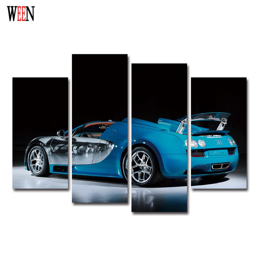 4 Panels painting cool sports car Modern Large HD canvas Painting Home poster Wall art Decor For Living Room cuadros decoracion