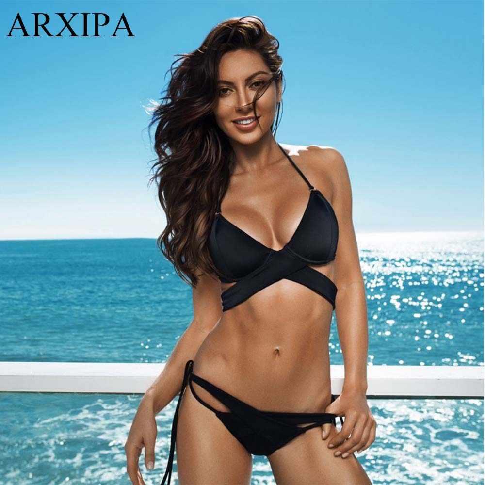 cb5cf6cf05d ... ARXIPA Fused Bikini Wrap Underwire Bra Swimsuit Solid Knot Pushup  Swimwear Harness Molded Cup Bathing Suit ...