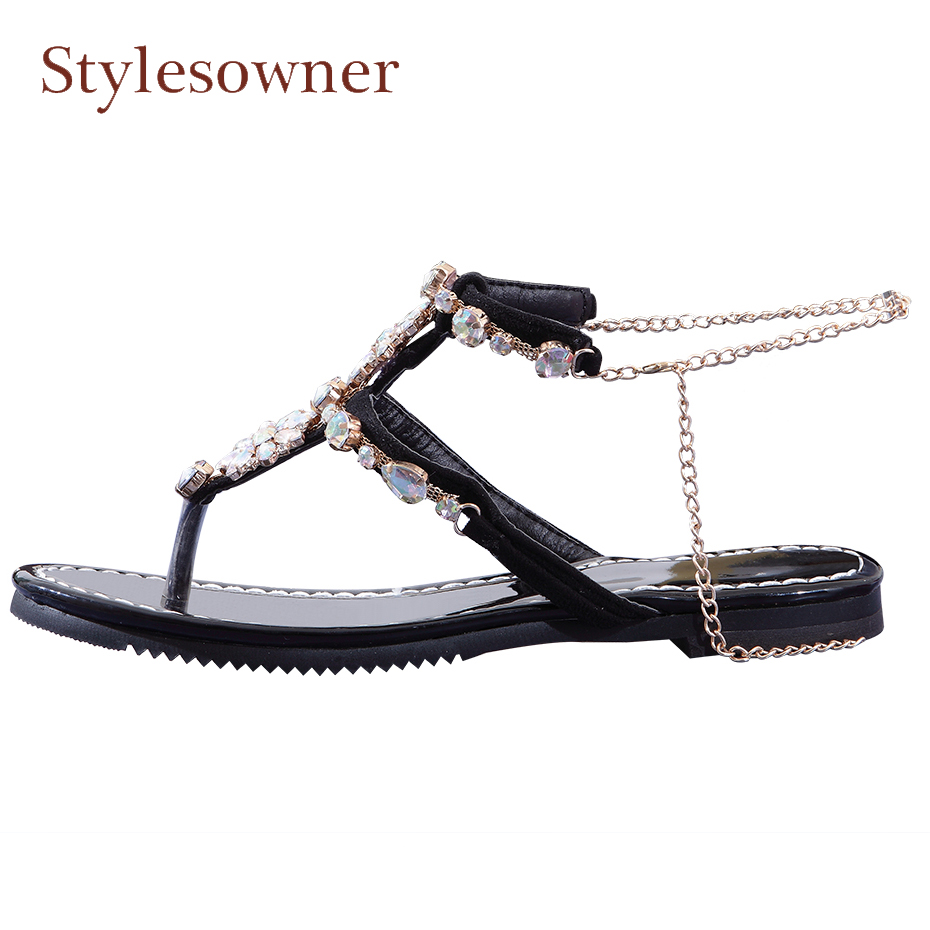 Stylesowner crystal women gladiator sandals ankle metal chain strap flat heel patent leather summer shoes causal beach sandals
