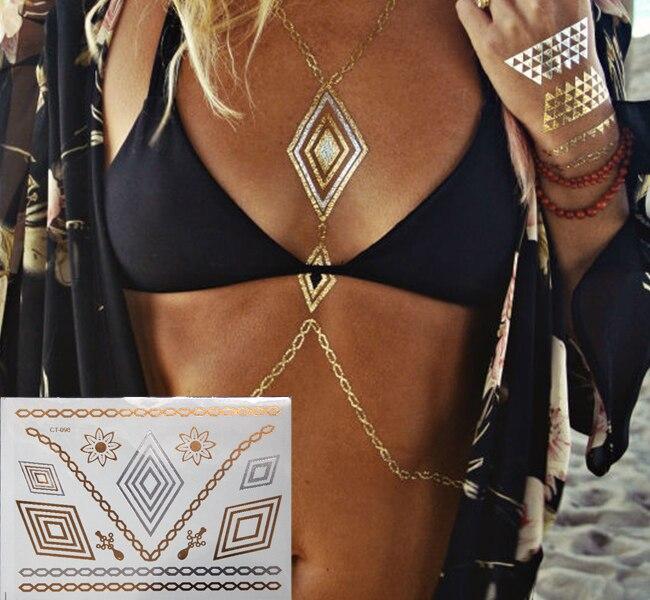 Beach in summer Temporary Tattoos necklace jewelry tips metallic Gold Flash Tattoo body art Tattoo sticker