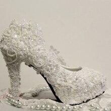hand-made Custom made princess Lace pearl high-heeled shoes woman bride shoe Dress shoes wedding shoe