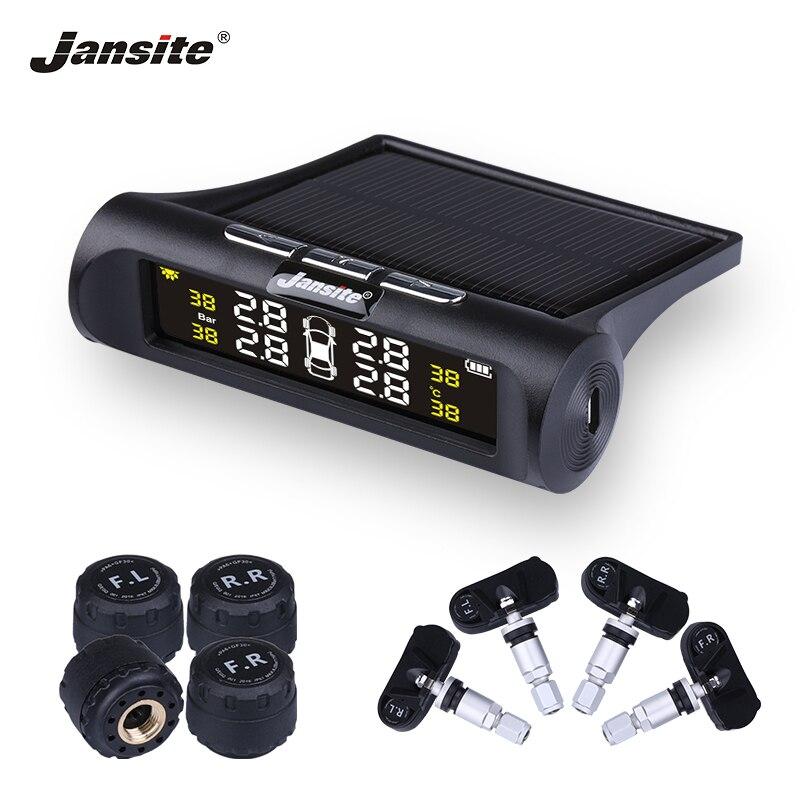 Jansite Auto TPMS Tire Pressure Monitoring System Solar Lade HD Digital LCD Display Auto Alarm System Wireless Mit 4 Sensor