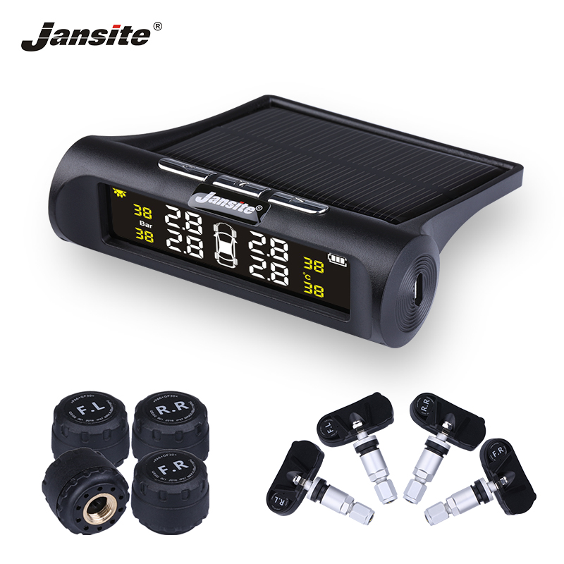 Jansite Car TPMS Tire Pressure Monitoring System Solar Charging HD Digital LCD Display Auto Alarm System Wireless With 4 Sensor
