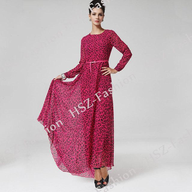 8029 señoras de la manera Caliente ligereza gasa vestido de alta calidad aumentó estampado de leopardo de ropa islámica musulmán turco mujeres ropa
