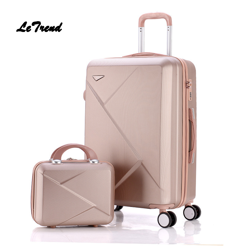 Letrend Women Suitcases Wheel Trolley Rolling Luggage Set Spinner vintage password Travel Bag Student 20 inch Carry on Luggage 3pcs set vintage pu travel luggage 12make up bag & 20 26 retro trolley suitcase bags with spinner wheel with combination lock