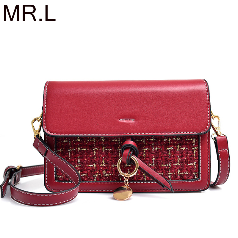 Byoung Brand Women Knitting Bag Fashion Leather Shoulder Bags Red Crossbody Messenger Bag Small Sac 2019 New Female for Ladies shoulder bag