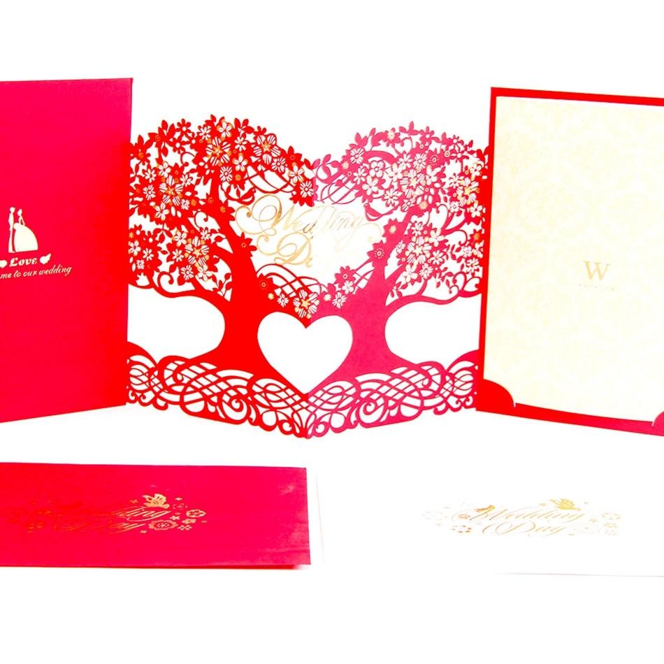 3D laser cut Mariage Blank Inner Side Wedding Invitations Cards Tree ...