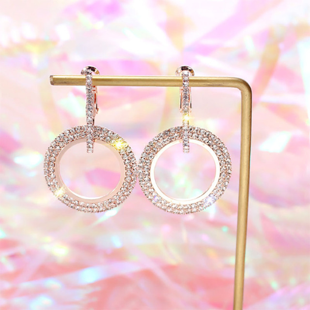 2018 creative jewelry high-grade elegant crystal earrings round Gold and silver earrings wedding party for women merry christmas 3