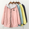 Spring Fashion Women Bomber Basic Jacket Pocket Zipper Hooded Two Side Wear  Cartoon Print Outwear Loose Plus Size A939