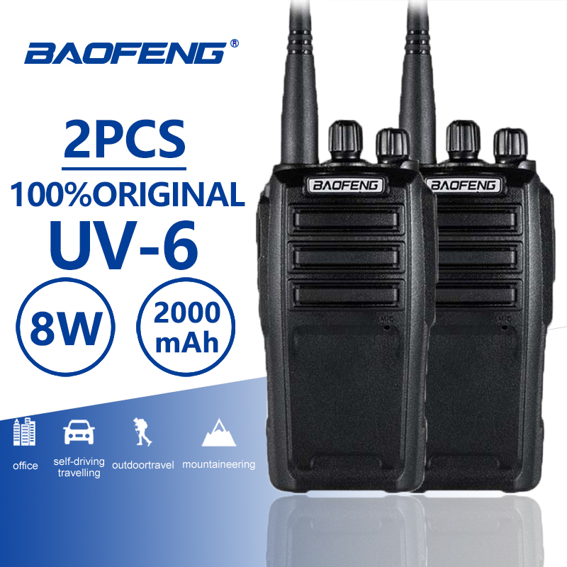 2pcs Baofeng UV-6 Walkie Talkie 8w 2000mAh 128 CH UHF VHF Dual Band Two Way Radio Woki Toki 10 KM Police Equipment Radio Amador