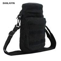 Men Nylon Molle Shoulder Messenger Water Bottle Kettle Hydration Pouch Bag Waist Pack