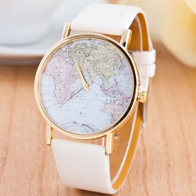 Hot Sale White Leather Women Watch World Map Watches Jewelry For ...