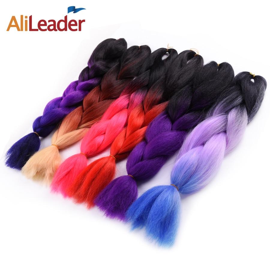 AliLeader Crochet Straight Hair Extensions Xpression Braiding Hair, 10Pcs/Lot Synthetic Braids Ombre Two Tone Kanekalon Braid