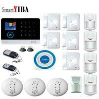 SmartYIBA APP Control Smoke Alarm GSM WIFI Alarm System Home Burglar Security Protection Alarm System With Blue Flash Siren