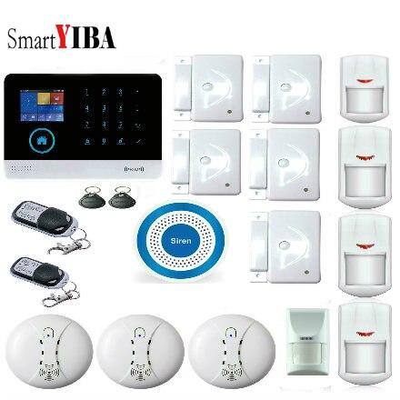 Système d'alarme de fumée de contrôle APP SmartYIBA système d'alarme GSM WIFI système d'alarme de sécurité antivol à domicile avec sirène bleue