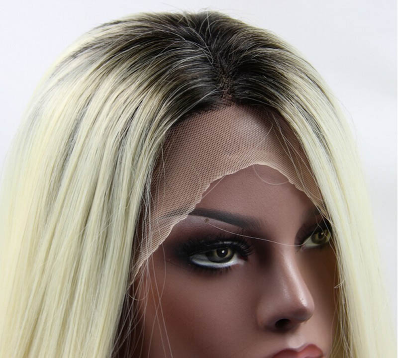 Sylvia 613# Ombre Silky Straight Synthetic Lace Front Wig With Brown Roots Heat Resistant Fiber Hair For Women